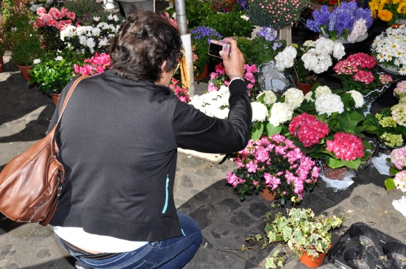 010 My Mom Taking a Picture of Flower Arrangements