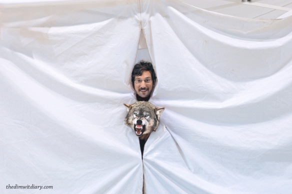 001 The Dimwit In A Pop Up Tent With A Ferocious Wolf